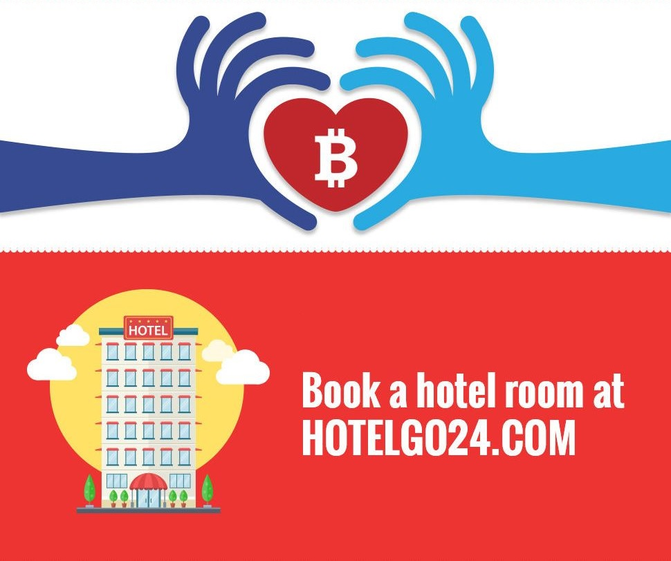 Book a hotel room and donate bitcoins!